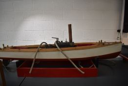 A Live Steam hand built wooden model Cruiser Boat having twin piston vertical engine, brass and