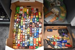 Two boxes of mixed vintage Corgi, Matchbox, Majorette and later playworn Diecasts along with a