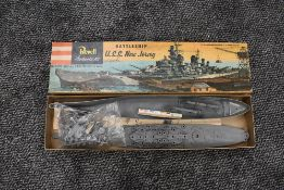 A 1950's Revell Plastic Kit, Battleship USS New Jersey, appears unmade in original box H316:198