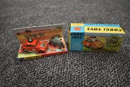 A Corgi diecast, Volkswagen 1200 in red with fawn interior having number 18 Nairobi and East