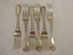 Six Victorian silver dinner forks of fiddle back and thread pattern, London 1856, Elizabeth Eaton,
