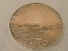 A Russian white metal commemorative medal regarding the construction of the Catherine Port on Murman