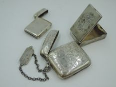 A Victorian silver box vesta of plain form bearing dated monograms to hinged lid, London 1881,