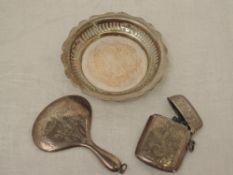 A miniature silver hand mirror having engraved ribbon and swag decoration, Birmingham 1922, Samuel M