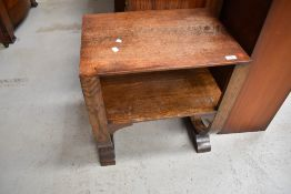 An early 20th Century Deco design side occasional table having undertier