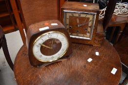 Two early 20th Century oak cased mantel clocks
