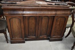 A Victorian mahogany chiffonier sideboard base, width approx. 138cm, in need of restoration