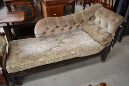 A 19th Century mahogany chaise longue having dralon button upholstery and later removable seat