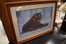 A printer after Jonathon Truss, Tiger in the Snow in light mahogany effect frame