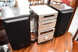 A Technics compact Hifi, includes a pair of Apollo speaker stands