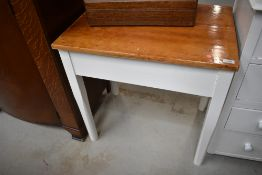 A pine top occasional table having painted frame, approx. 67 x 48cm