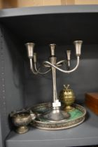 A selection of table top items including Indian silver bowl, gallery tray and candle stick
