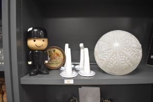 A selection of home wares including ceramic brackets and pressed milk glass art deco shade
