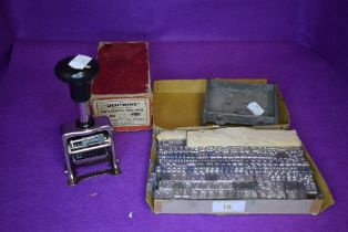 A letter press stamp set and a similar office stationary no.999 stamp