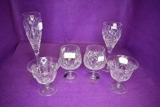 A selection of named glass wares including Tudor dessert glasses, two Bohemia brandy glasses and