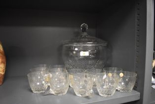 A Spiegelau Kristall glass punch bowl and cup set