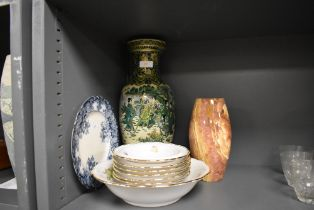A selection of ceramics including green glaze Chinese style vase and a turned stone agate vase