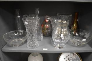 A selection of glass bowls and vase including hand cut and transfer printed