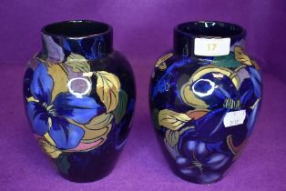A pair of mantle or similar vase by Royal Stanley Ware in the Jacobean design