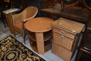 A selection of Lloyd Loom furniture (four pieces in total, over sprayed gold)