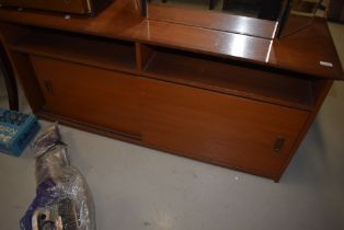 A vintage teak low sideboard/hifi unit, width approx. 126cm