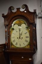 A 19th Century, George III, oak and mahogany long case clock with fluted case decorated with