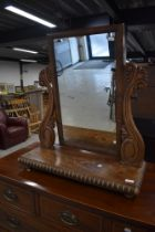 A 19th Century mahogany toilet mirror of large proportions having scroll frame, width approx. 68cm