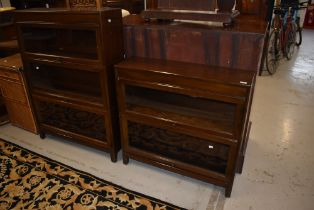 Two early to mid 20th century stacking bookcases, Minty or similar, being two and three tier