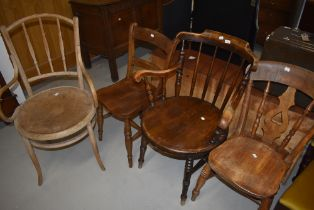 Four assorted 19th Century and later chairs including spindle back carver