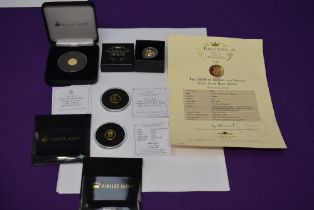 Four Gold Coins, a Tristan Du Cunha 22ct 400 anniversary gold proof 1/4 Laurel, weight 2g with