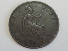 A Queen Victoria Bun Head 1894 Bronze Penny