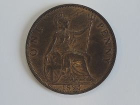 A Queen Victoria old Veiled Bust 1895 Penny, low tide, P 2mm from Trident