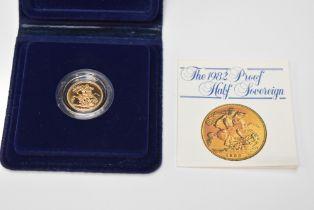 A 1982 Queen Elizabeth Gold Proof Half Sovereign in original case