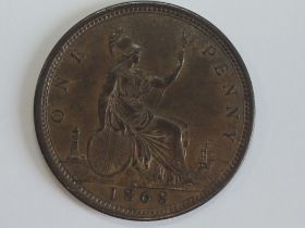 A Queen Victoria Bun Head 1868 Bronze Penny