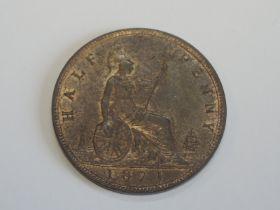 A Queen Victoria Bun Head 1871 Bronze Half Penny