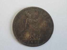 A Queen Victoria Bun Head 1871 Bronze Penny
