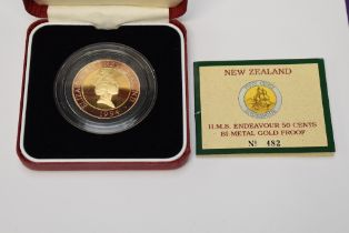 A Royal Mint limited edition New Zealand 1994 HMS Endeavour 50 Cents Bi Metal Gold Proof Coin 482/