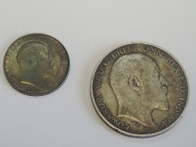 Two Edward VII Silver Coins, 1902 Florin and a 1908 Sixpence