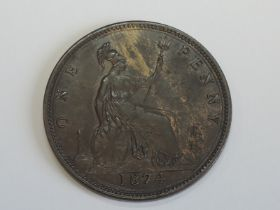 A Queen Victoria Bun Head 1874 Bronze Penny 6H