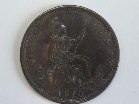 A Queen Victoria Bun Head 1870 Bronze Penny