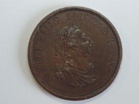 A George III 1805 Half Penny Pattern Restrike, obverse side GEORGIUS III.D..G.REX., reverse, BRITAN