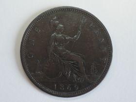 A Queen Victoria Bun Head 1869 Bronze Penny