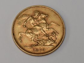A Queen Victoria 1879 George & Dragon Melbourne Mint Gold Sovereign