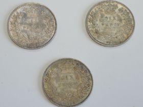 Three Queen Victoria Silver Sixpence, 1864 die number 36, 1866 die number 46 and 1871 die number 2