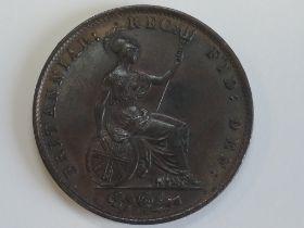 A Queen Victoria 1855 Young Head Copper Half Penny