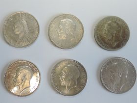 Six Silver Florins, 1891, 1911, 1928, 1931, 1935 & 1936