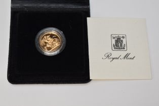 A 1982 Elizabeth II Gold Proof Sovereign in case