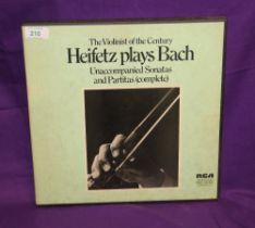 Heifetz plays Bach - rare recordings - three album set - box has some wear - vinyl is EX
