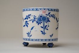 A blue and white wear plant or similar pot on three footed base stamped for Minton 16cm tall 16cm