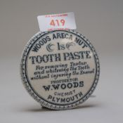 A ceramic paste pot lid Woods Areca Nut Tooth Paste, by W.Woods Chemist Plymouth. Lid in excellent